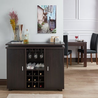 Furniture of America Mirande Contemporary Espresso Dining Buffet with Wine Storage