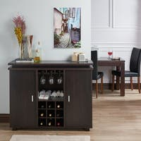 Furniture of America Mirande Contemporary Espresso Dining Buffet with Wine Storage