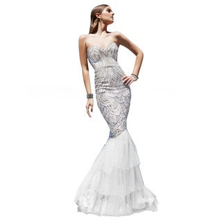 Terani Couture Women's Fully Sequined Bodice Mermaid Gown