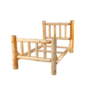 Rustic White Cedar Log Mission Style Bed with Single Side Rail- Amish Made USA