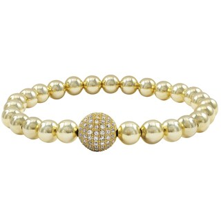 Luxiro Gold Finish Pave Cubic Zirconia Ball Stretch Bracelet