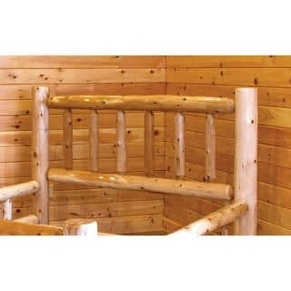 Rustic White Cedar Log Mission Style Bed with Double Side Rail- Amish Made USA