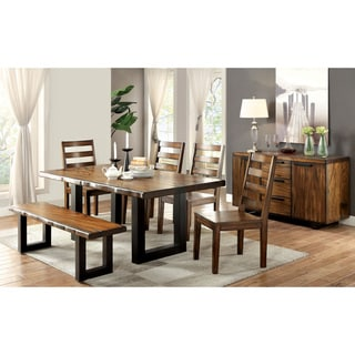 Furniture of America Divo Rustic Oak Solid Wood 6-piece Dining Set