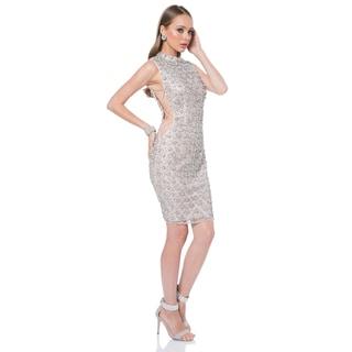 Terani Women's Silver High-neck Sleeveless Cocktail Dress