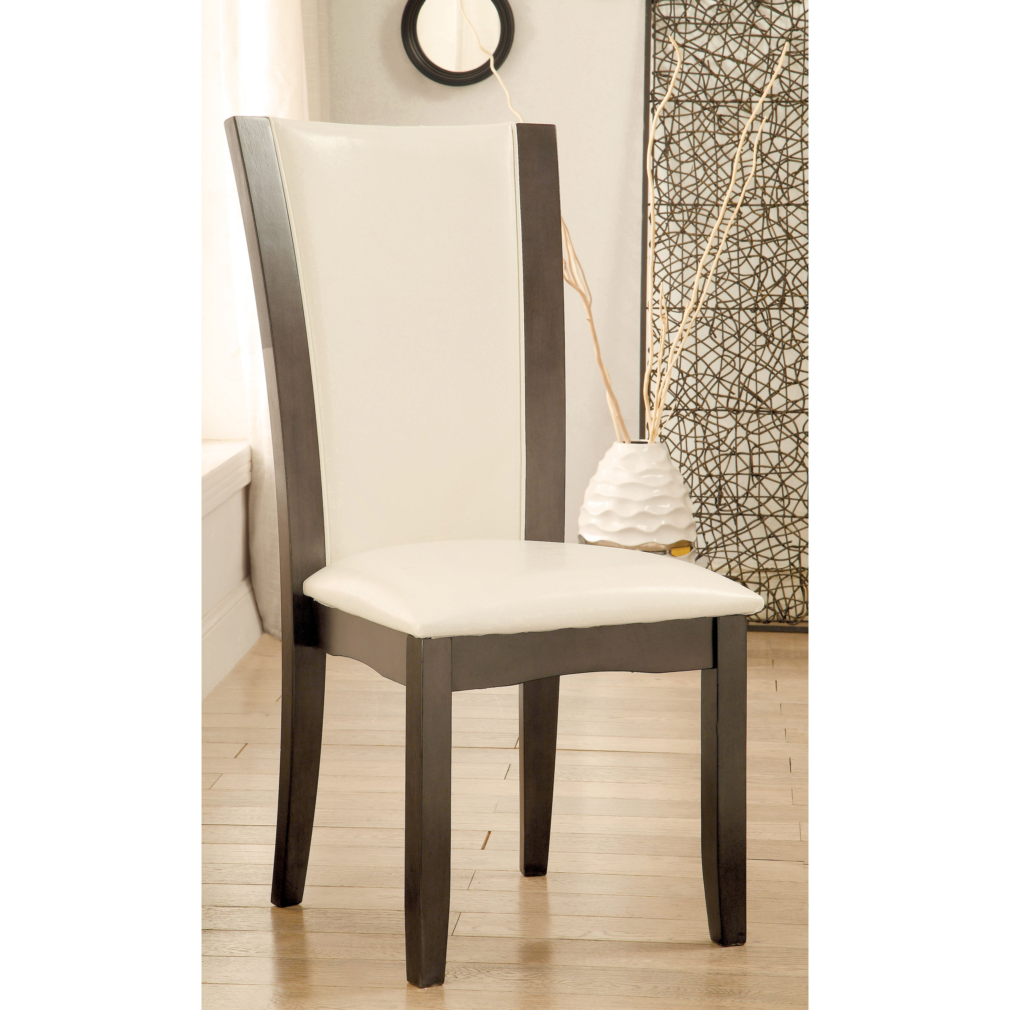 Furniture of America Mario II White Leatherette Brown Dining Chairs (Set of 2)
