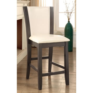 Furniture of America Mario II White Leatherette Grey Counter Height Chairs (Set of 2)