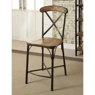 Furniture of America Merrits Industrial Style Counter Height Chair (Set of 2)