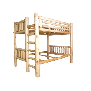 Rustic White Cedar Log Bunk Bed Full Over Full Amish Made