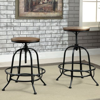 Furniture of America Daimon Industrial Height Adjustable Counter Height Stool (Set of 2)
