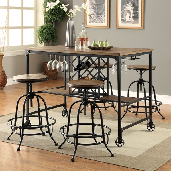 Kitchen Table With Wine Rack: Furniture Of America Daimon Industrial Wine Rack Counter