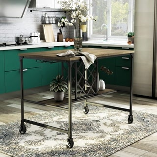 Furniture of America Daimon Industrial Wine Rack Counter Height Dining Table