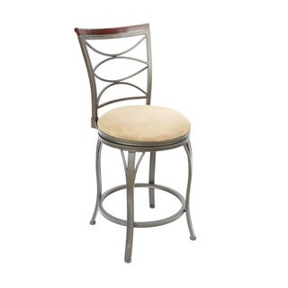 Ellipse Back Swivel Steel, Wood 24-inch Barstool with Curved Legs