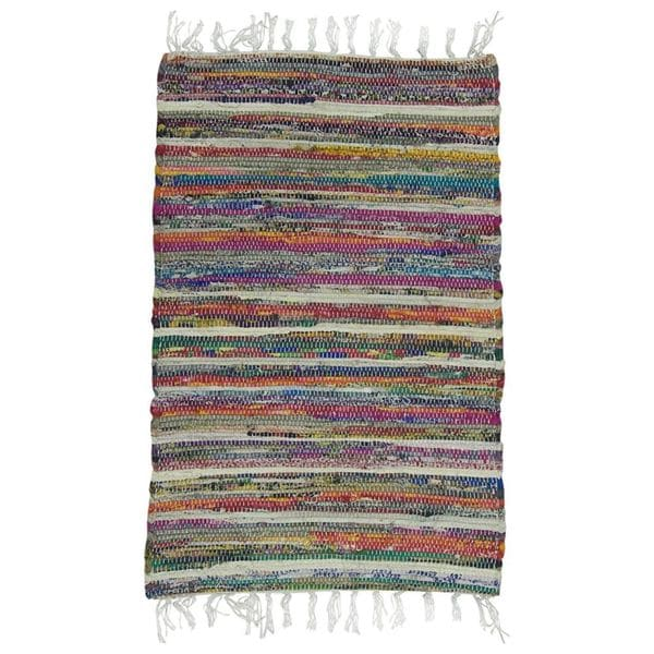 "Rainbow Multi Chindi 20""x32"" Rag Bath Rug"