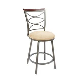 Steel/Wood 24-inch Ellipse-back Straight-leg Swivel Barstool
