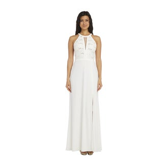 Nightway Women's Glitter Off-white Spandex Lace Gown