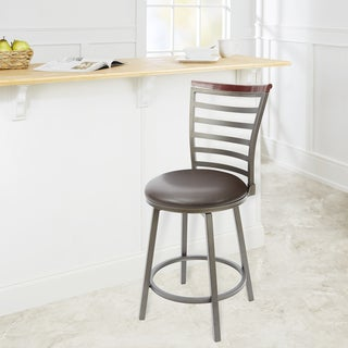Steel/Wood 24-inch Ladder-back Swivel Straight-leg Barstool