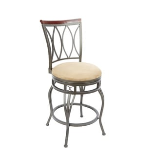 Bronze Finish Wood and Steel 24-inch Eyelet Back Swivel Barstool With Curved Legs and Hourglass Seat Ring Accent
