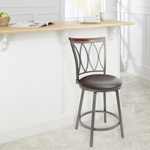 shop brown steel and wood 24 inch swivel bar stool free shipping today overstock 14031065. Black Bedroom Furniture Sets. Home Design Ideas