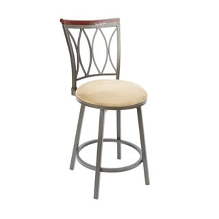 Brown Steel and Wood 24-inch Swivel Bar Stool