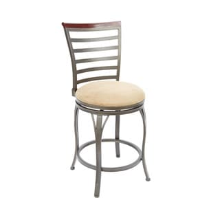 Brown 24-inch Ladder-back Swiveling Barstool with Curved Legs