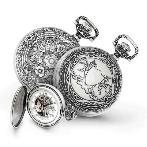Charles Hubert Antiqued Men's Unicorn Shield 47mm Case Pocket Watch by Versil - Silver