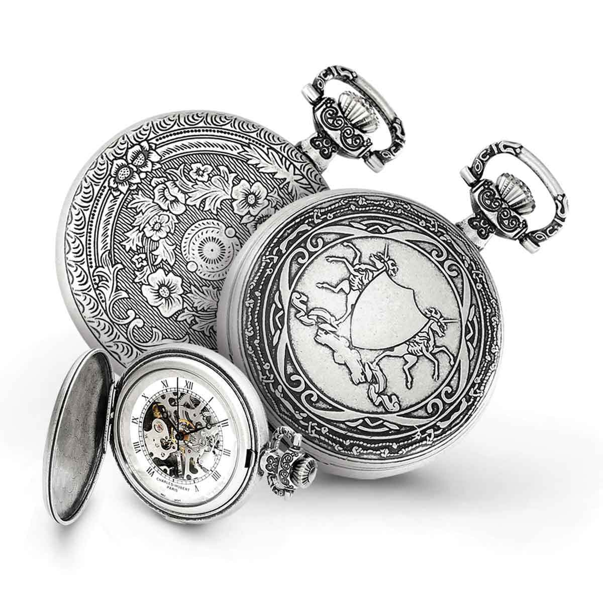 Charles Hubert Antiqued Men's Unicorn Shield Pocket Watch...