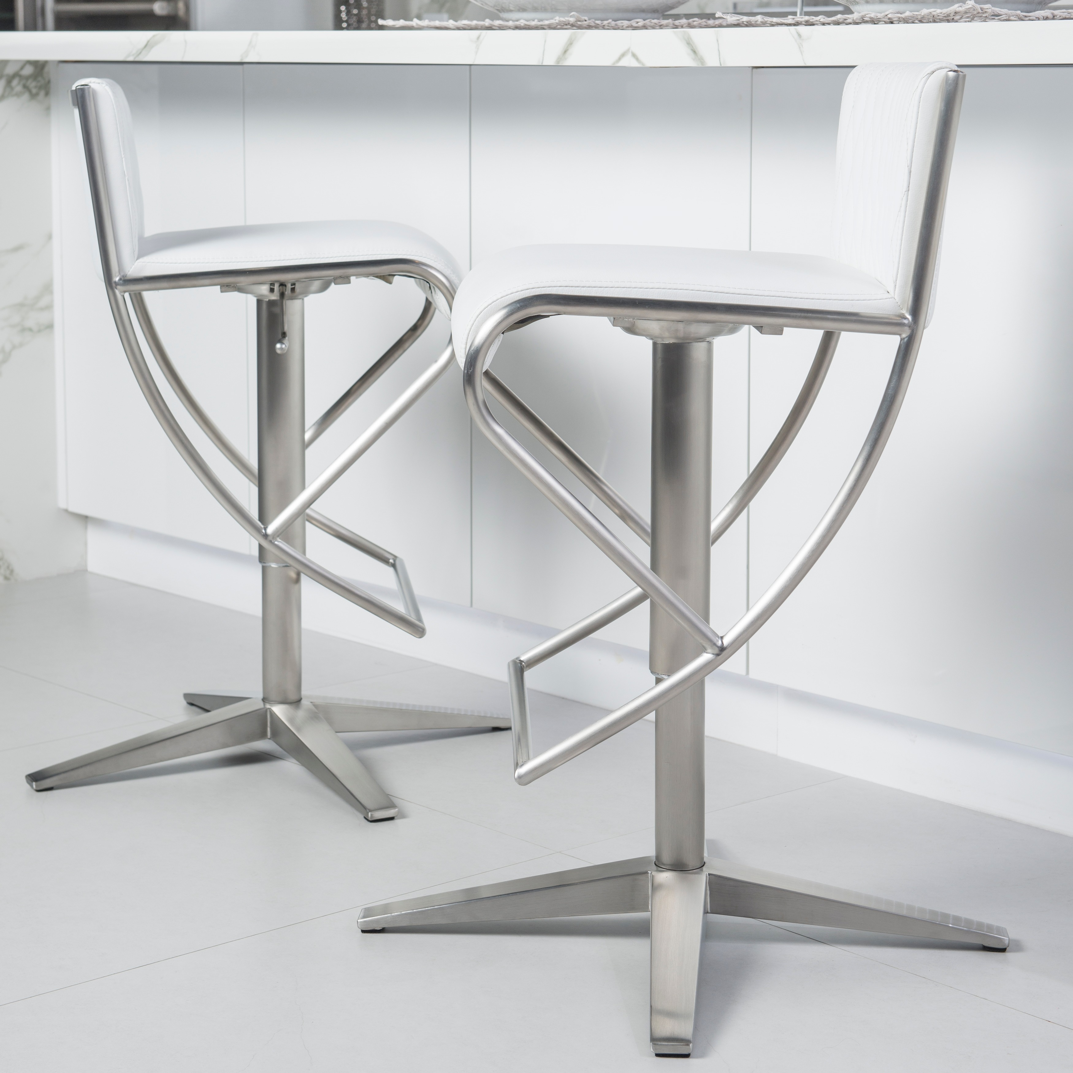 Counter Bar Stool Chair Low Back Swivel Seat Brushed Stainless Steel X Base
