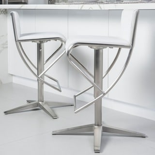 Brushed Stainless Steel X Base Diamond Pattern Low-back Adjustable-height Swivel Bar Stool