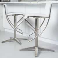 MIX Brushed Stainless Steel X Base Diamond Pattern Low-back Adjustable-height Swivel Bar Stool - N/A