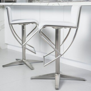 MIX Brushed Stainless Steel X Base Diamond Pattern Low-back Adjustable-height Swivel Bar Stool