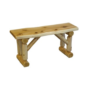 Rustic White Cedar Log Slab Dining Bench Amish Made - Multiple Sizes