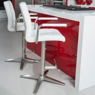 Brushed Stainless Steel X Base Checkered Pattern Adjustable Height Swivel Bar Stool with Arms
