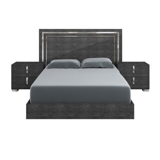 Modern Life Mila High Gloss Grey Birch and Chrome Queen Bed