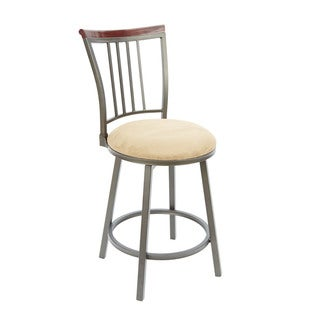 Bronze Finish Wood and Steel 24-inch Slat Back Swivel Barstool With Straight Legs