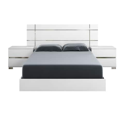 Modern Life Zoe High-Gloss White Lacquer Cali King Bed