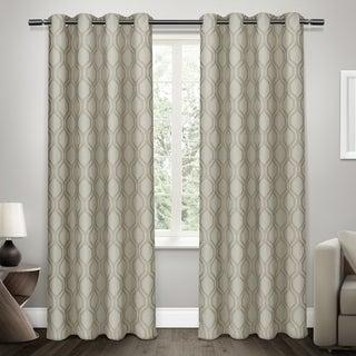 ATI Home Domino Geometric Jacquard Linen Curtain Panel (Pair)