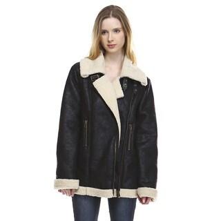 Women's Lada Black Leather and Faux Fur Biker Jacket