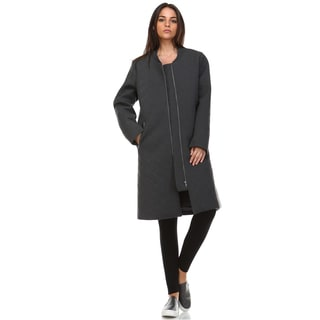 Carey Women's Charcoal Grey Jersey Knit Long Bomber Jacket