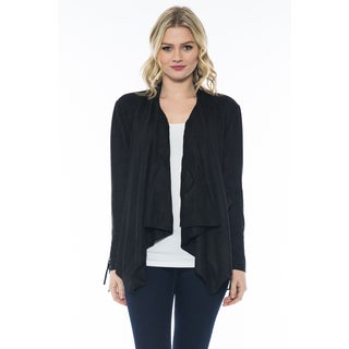 Women's Casual Suede Draped Jacket with Sleeve Fringes