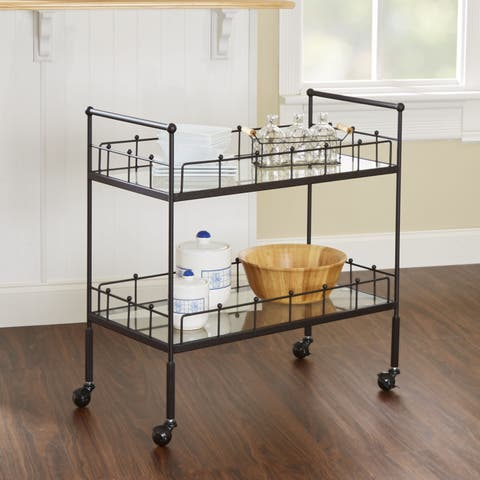 Fitz Hammered Bronze 2-tier Rectangular Serving Cart by Silverwood