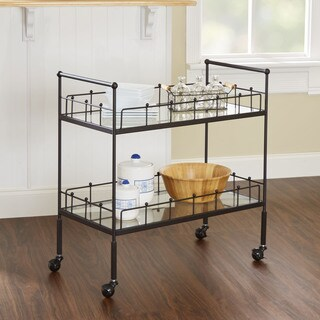 Silverwood Fitz 2-tier Rectangular Hammered Bronze Metal, Glass Serving Cart