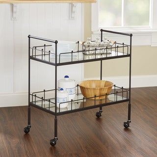 Fitz Hammered Bronze 2-tier Rectangular Serving Cart by Silverwood