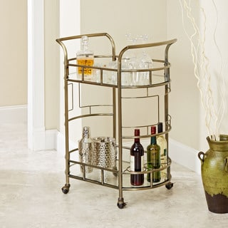 Silverwood Sinclair Antique Gold Finish Metal Glass 2-tier Serving Cart
