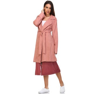 Umarah Women's Pink Suede Trench Jacket