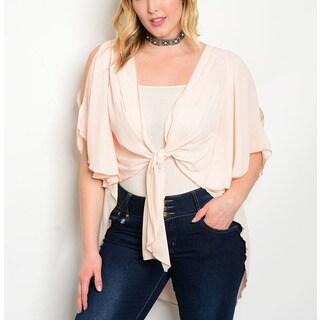 JED Women's Plus Size Short Sleeve Tie Front Bolero Cardigan Top