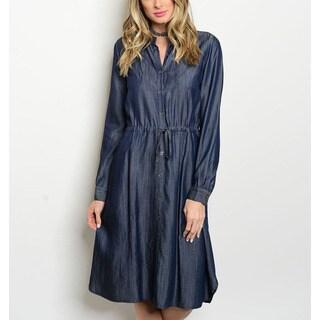JED Women's Long-sleeve Denim Knee-length Shirt Dress with Adjustable Waist Tie