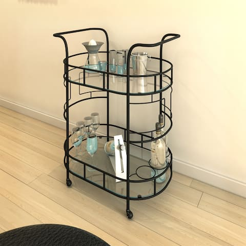 Copper Grove Call Lake Hammered Bronze 2-tier Serving Cart