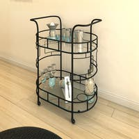 Porch & Den Monroe Sheldon Hammered Bronze 2-tier Serving Cart
