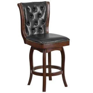 26-inch High Wood Counter Height Stool with Leather Swivel Seat
