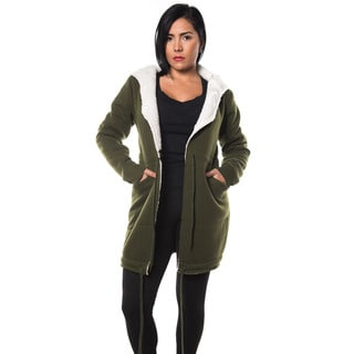 Special One Women's Cotton Blend Fur-lined Open-front Hooded Trench Coat Cardigan